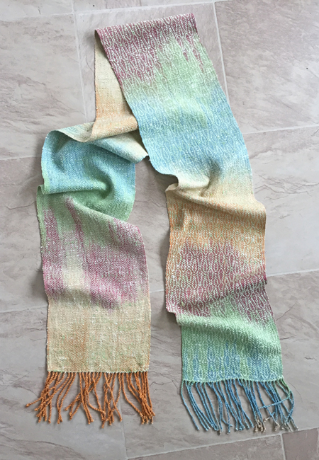 hand painted silk scarf, green weft