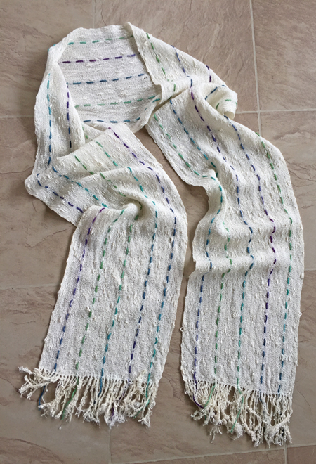 handwoven rayon seed scarf, green  & blue supplement
