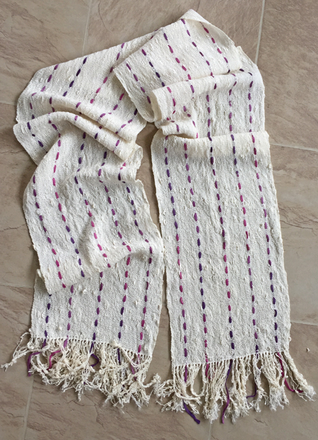 handwoven rayon seed scarf with soy silk supplement