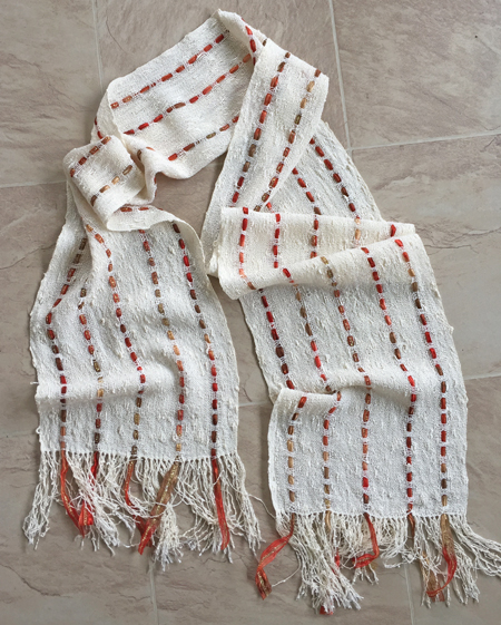 handwoven rayon seed scarf, gold supplement