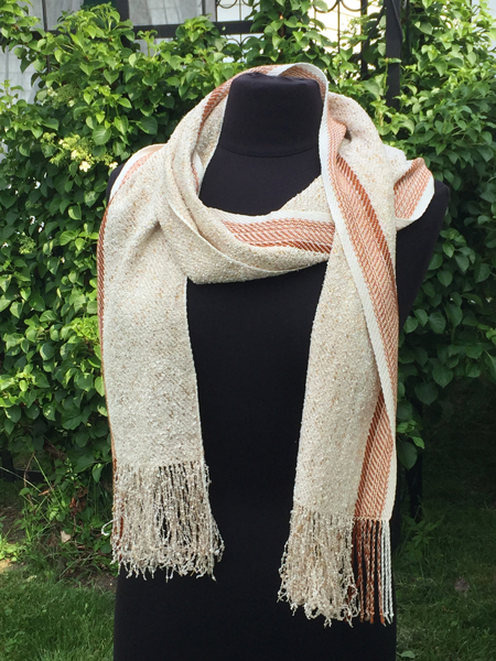 glitter gold scarf with sienna stripe