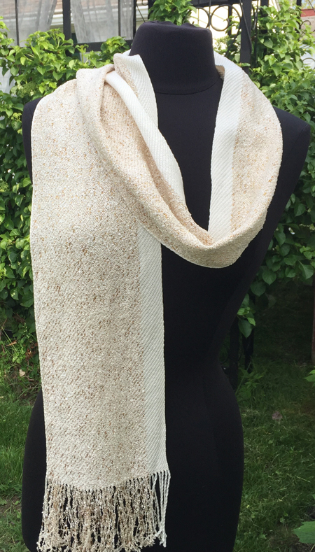 glitter gold scarf with white