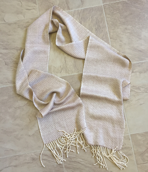 tan silk handwoven scarf