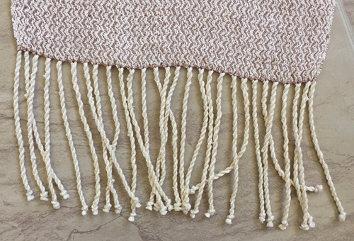beaded fringe on silk scarf
