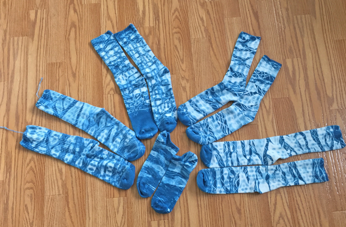 blue shibori-dyed socks
