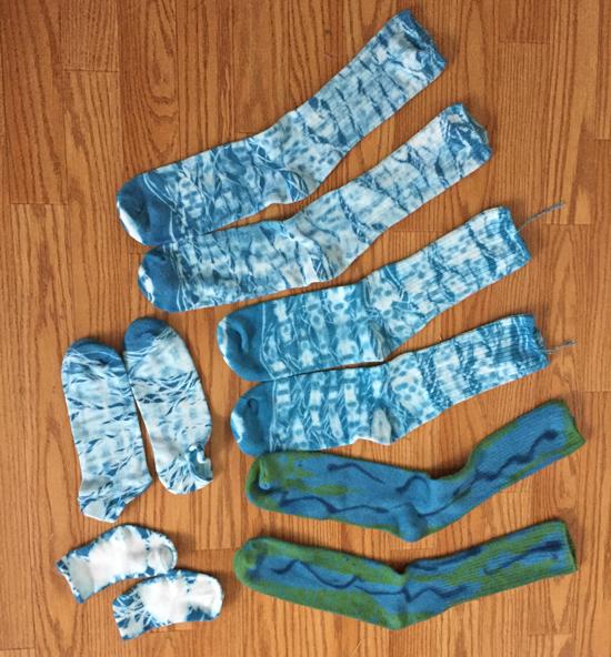 turquoise shibori-dyed socks