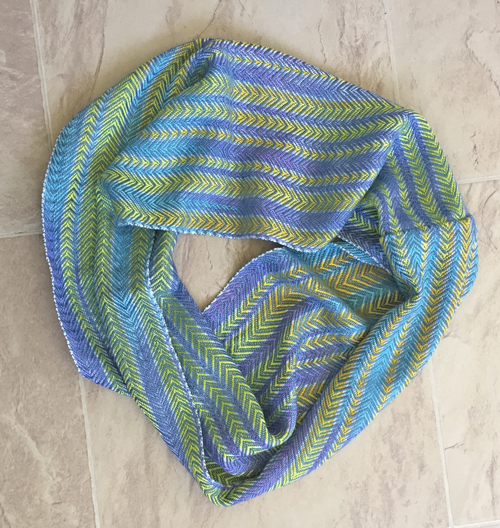 handwoven cowl from handpainted yarns