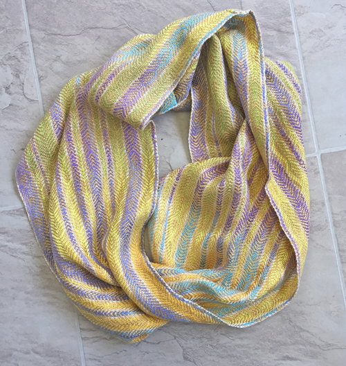 handwoven cowl, handpainted yarns