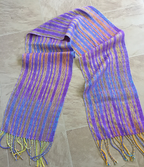 handwoven scarf of handpainted yarns-grapes