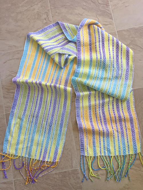handwoven scarf of handpainted tencel yarns-sugared tones