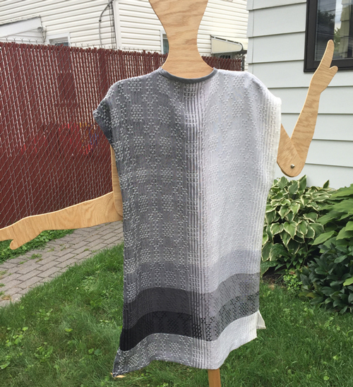 handwoven black & white long vest, back