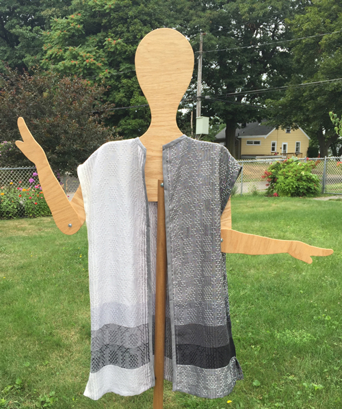 handwoven black & white long vest, front