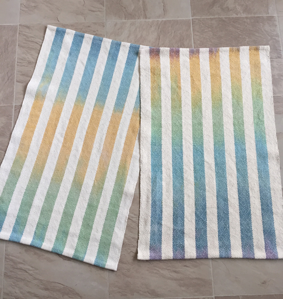 handwoven towels with handpainted stripes, natural weft