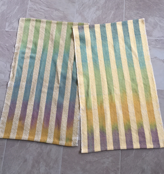 handwoven towels with handpainted stripes, yellow wefts