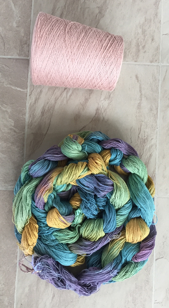 handpainted cotton yarn with starting cone