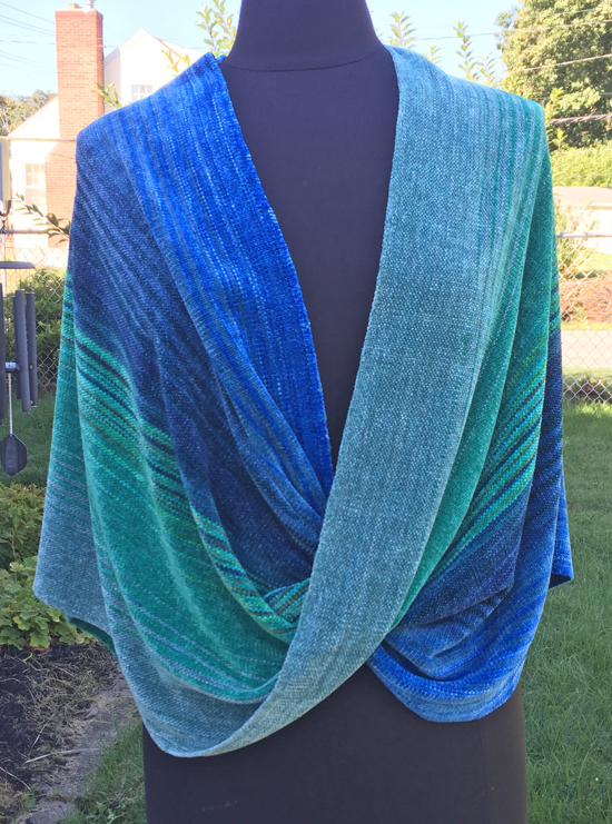 handwoven mobius wrap in blue to green colors