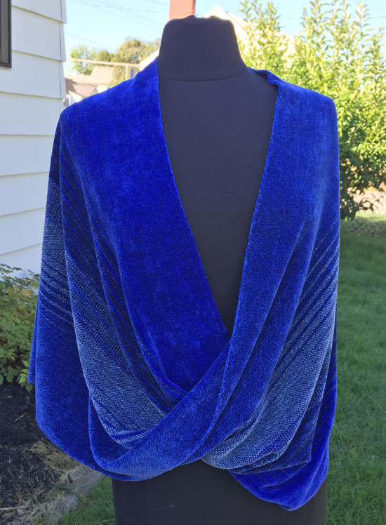 handwoven mobius wrap in blue gemtones