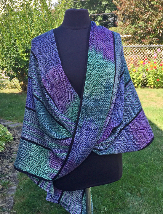 handwoven handpainted mobius wrap, black weft
