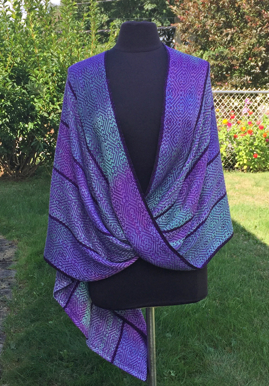 handwoven handpainted mobius wrap, purple weft