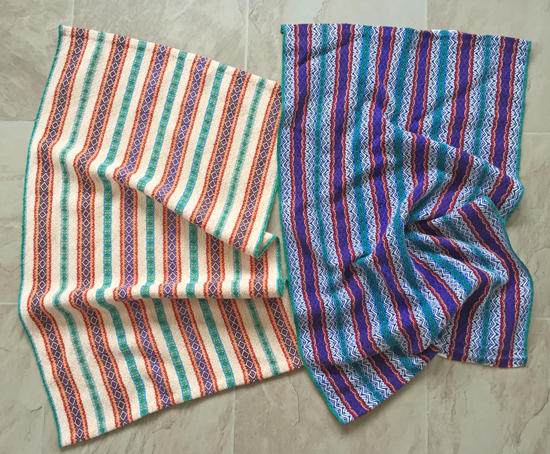 Handwoven striped towels, Dreams of India, melon & royal blue