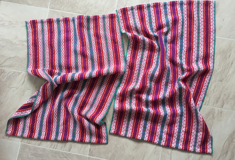 Handwoven striped towels, Dreams of India, red