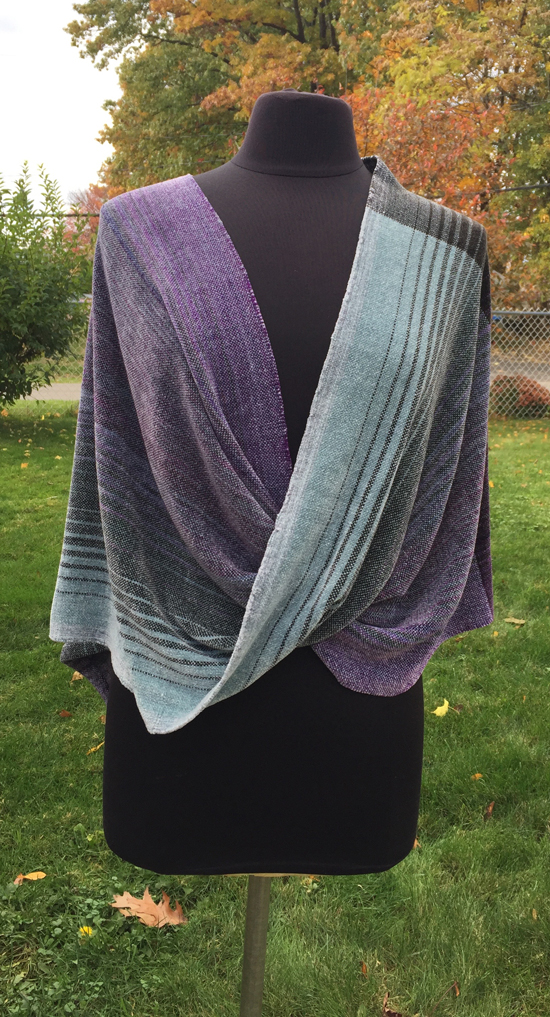 Handwoven rayon chenille wrap in purple & silver