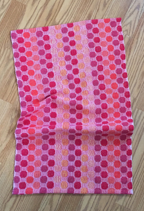 handwoven polka dot towel, cherry weft