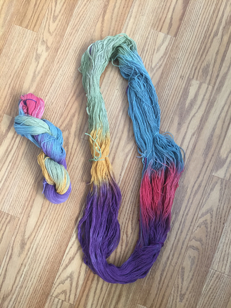 hand painted skeins, dry