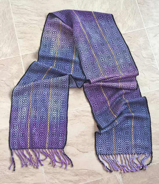 handpainted scarf with green tea & modal warp and tencel weft