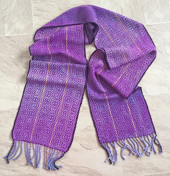 handpainted scarf with green tea & modal warp & bamboo weft