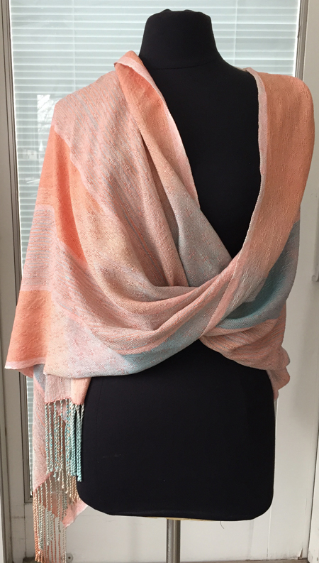 handwoven fringed silk warp in coral & turquoise