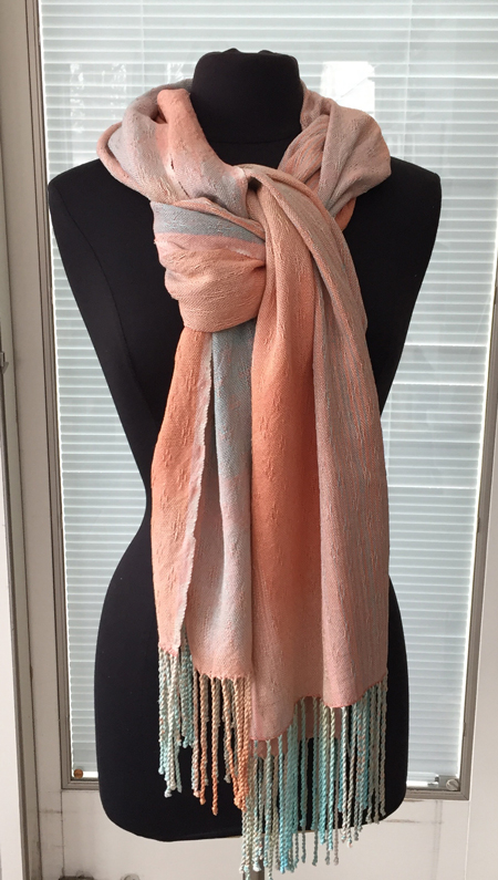 handwoven silk Flamingo wrap knotted