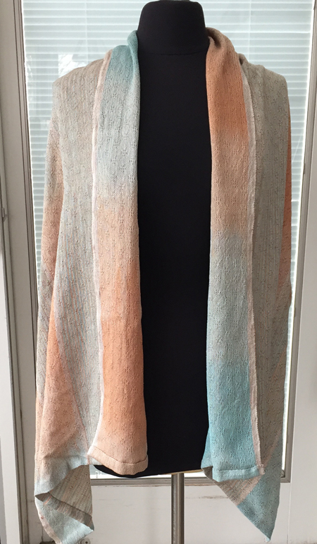 handwoven silk wrap, coral, turquoise and brown