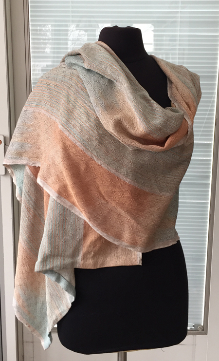 handwoven silk wrap with taupe