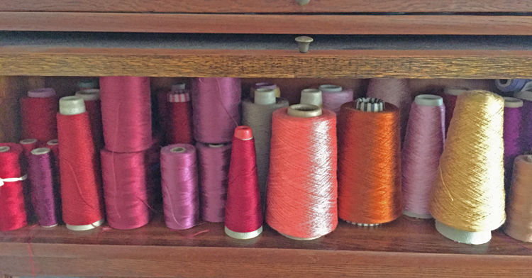 shelf of yarn to be inventoried