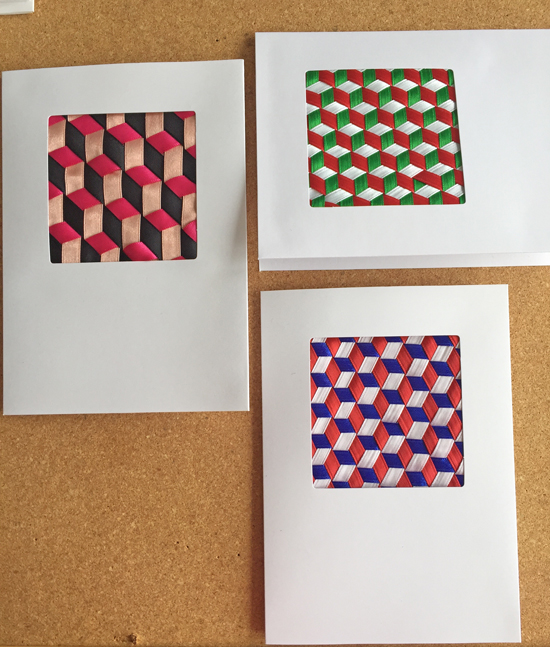 3 cards with triaxial ribbon weaving