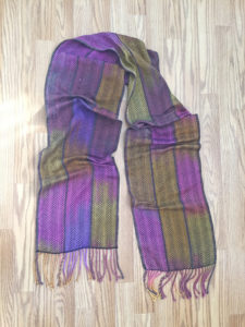 hand dyed and hand woven silk and cashmere scarf, black weft