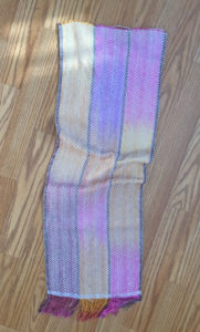 hand dyed and hand woven piece of fabric
