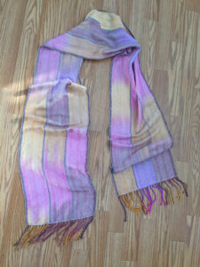hand dyed and hand woven silk and cashmere scarf, natural weft