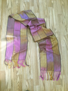 hand dyed and handwoven silk scarf, honey berries with tan