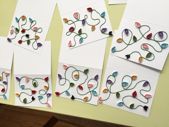 completed quilled holiday cards