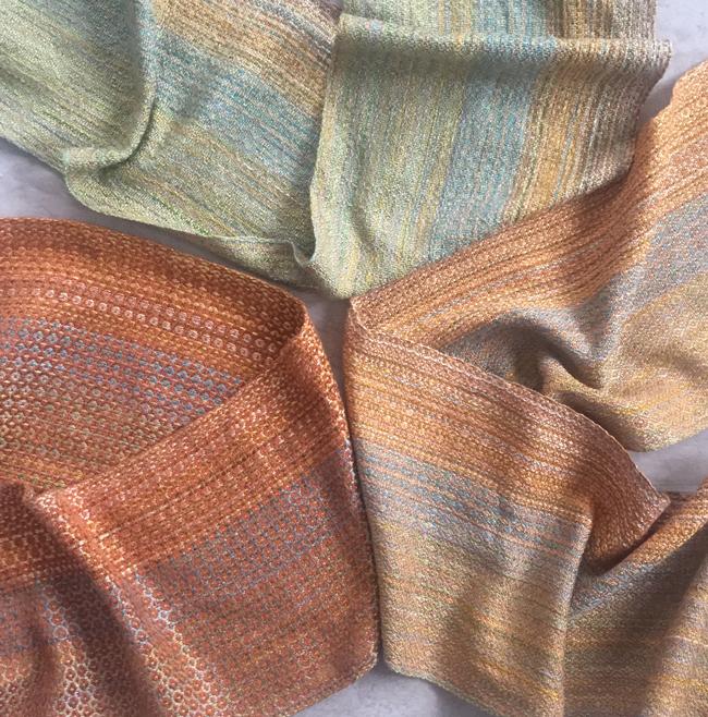 3 JR-RD multi-colored warp scarves
