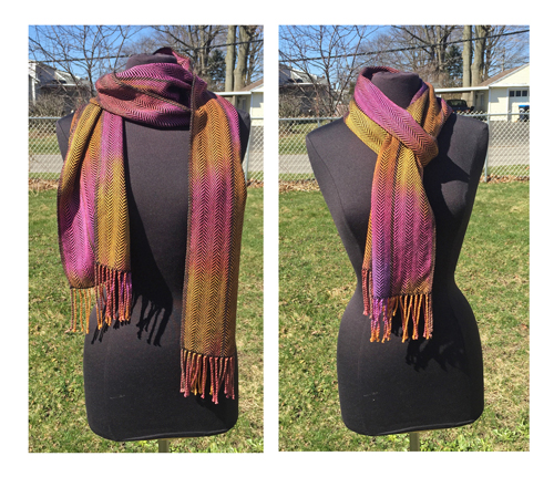 handwoven scarf, Dark Honey Berries