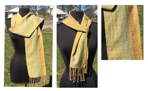 handwoven Gold Dreams Green scarf