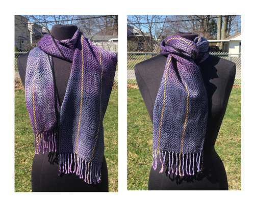 handwoven Black Irises scarf