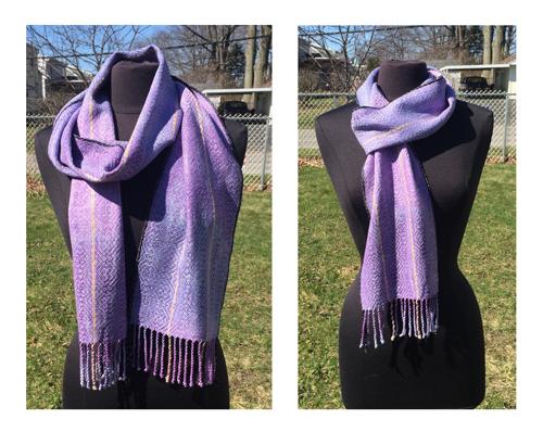 handwoven lavender irises scarf