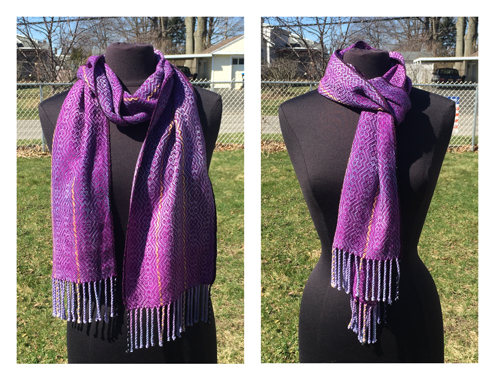handwoven purple iris scarf