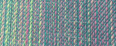 closeup of RD gems warp on loom