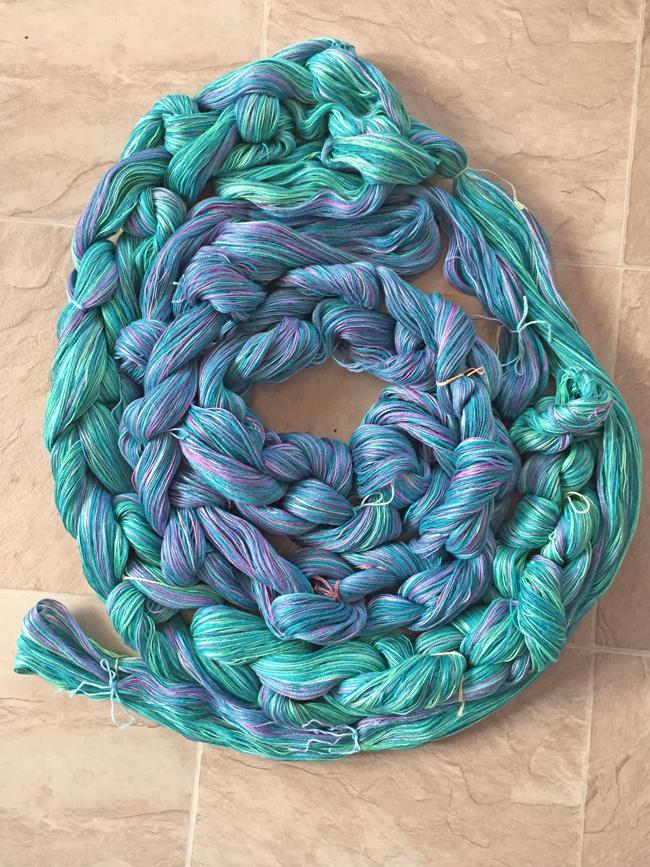 hand dyed warp, gems, chained