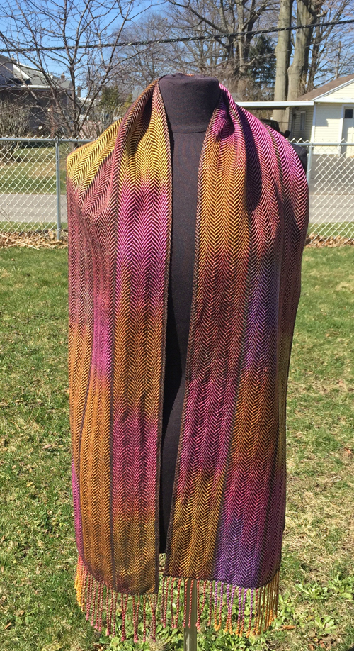 handwoven Dark Honey Berries scarf